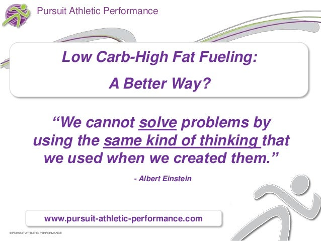 Pursuit Athletic Performance                             Low Carb-High Fat Fueling:                                   A Be...