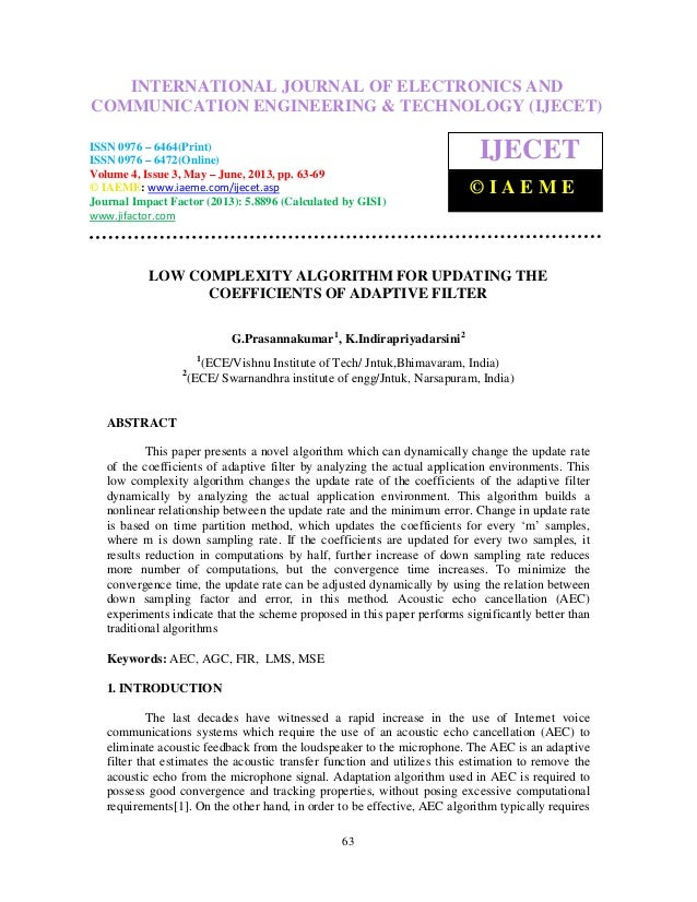 Low complexity algorithm for updating the coefficients of adaptive 2