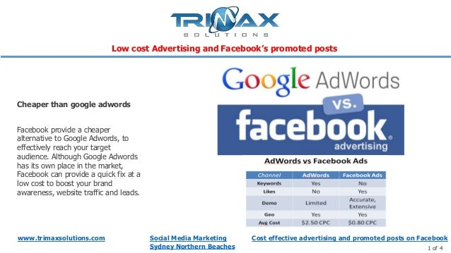 www.trimaxsolutions.com Social Media MarketingSydney Northern Beaches 1 of 4Facebook provide a cheaperalternative to Googl...