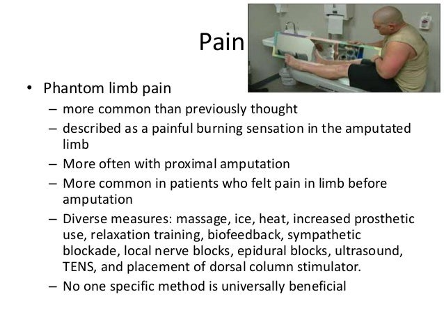 phantom limb pain essay Vilayanur s ramachandran a 2016 review concluded that the level of evidence is insufficient to recommend mt as a first intention treatment for phantom limb pain.
