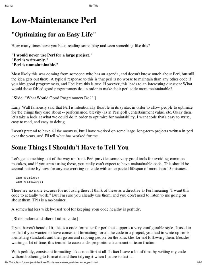 "3/3/12                                                            No Title     Low-Maintenance Perl     ""Optimizing for an..."