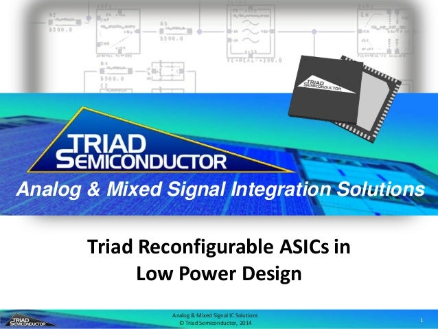 Analog & Mixed Signal IC Solutions © Triad Semiconductor, 2014 1 Analog & Mixed Signal Integration Solutions Triad Reconfi...