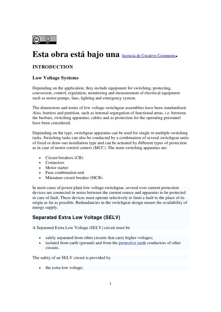 Esta obra está bajo una licencia de Creative Commons. INTRODUCTION  Low Voltage Systems Depending on the application, they...