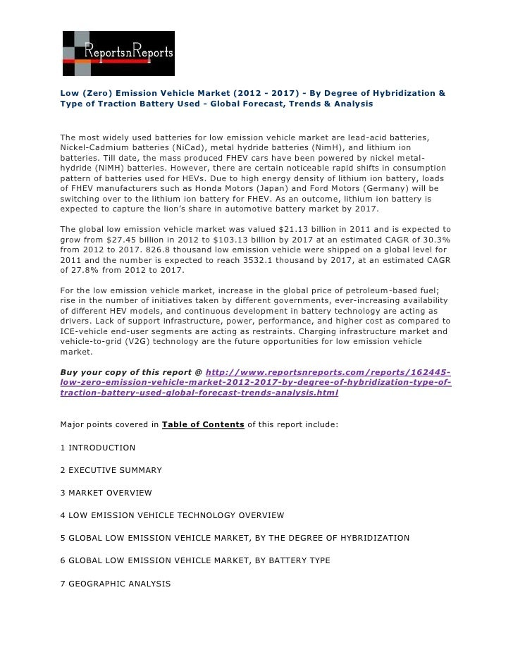 Low (Zero) Emission Vehicle Market (2012 - 2017) - By Degree of Hybridization &Type of Traction Battery Used - Global Fore...