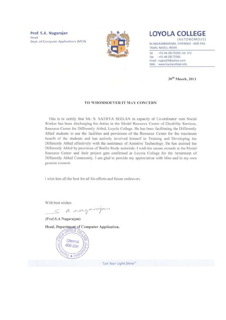 Recognition Letter