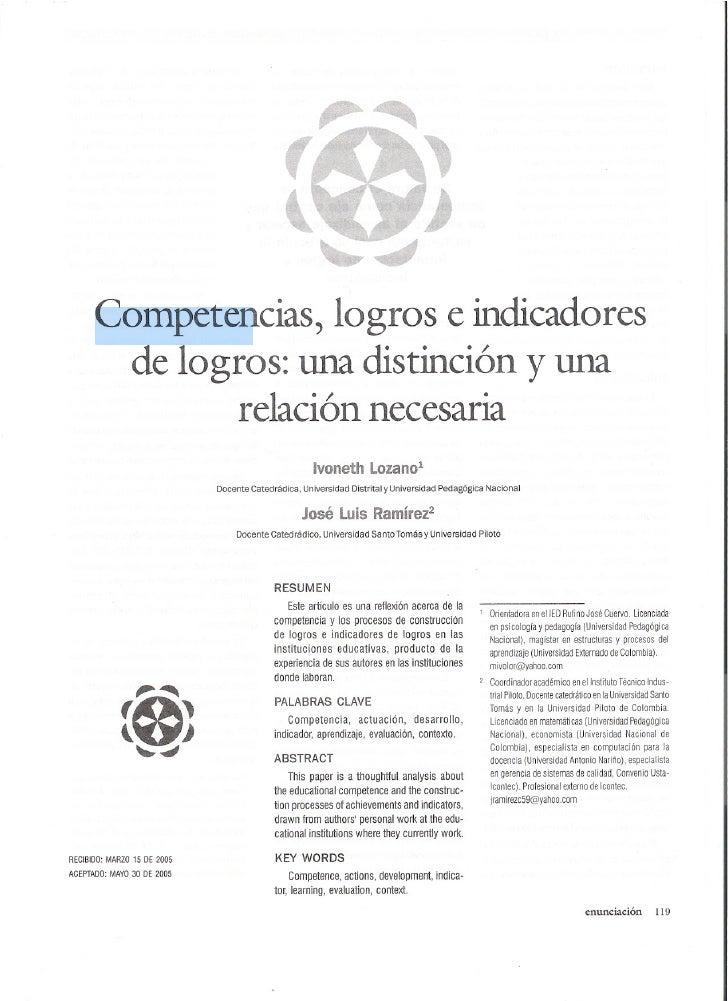 Competencias, logros e indicadores      de logros: una distinción y una                                relación necesaria ...