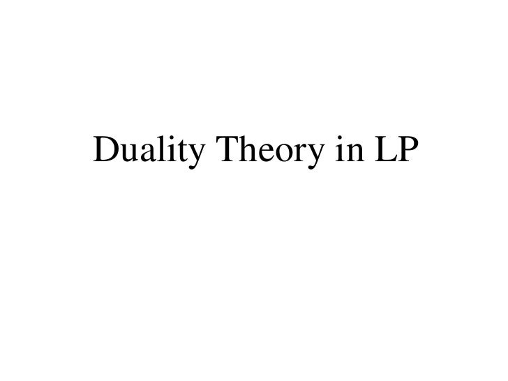 Duality in Linear Programming
