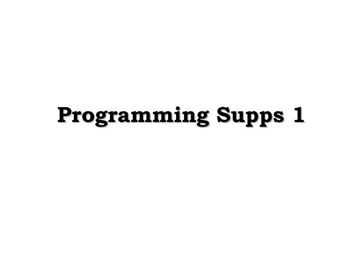 Programming Supps 1