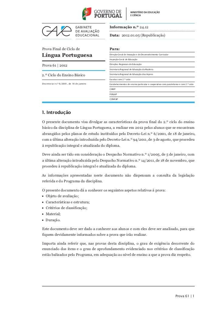 Informação n.º 24.12                                           Data: 2012.01.05 (Republicação)Prova Final de Ciclo de     ...