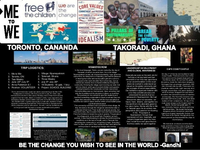TRIP LOGISTICS: 1. 2. 3. 4. 5. 6.  Me to We Toronto, ON Two Weeks June 24th-July 5th Anna Patterson & I Position: VOLUNTEE...