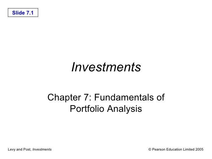 Investments Chapter 7: Fundamentals of Portfolio Analysis