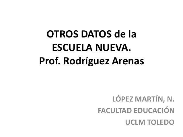 OTROS DATOS de laESCUELA NUEVA.Prof. Rodríguez ArenasLÓPEZ MARTÍN, N.FACULTAD EDUCACIÓNUCLM TOLEDO