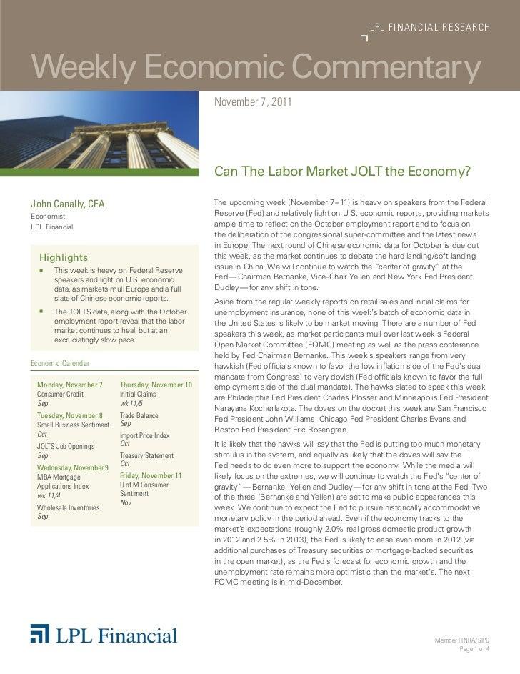 LP L FINANCIAL R E S E AR C HWeekly Economic Commentary                                                    November 7, 201...