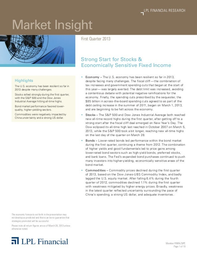 Member FINRA/SIPCPage 1 of 10Market InsightLPL FINANCIAL RESEARCHFirst Quarter 2013Strong Start for Stocks &Economically S...