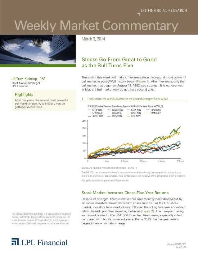LP L FINANCIAL R E S E AR C H  Weekly Market Commentary March 3, 2014  Stocks Go From Great to Good as the Bull Turns Five...