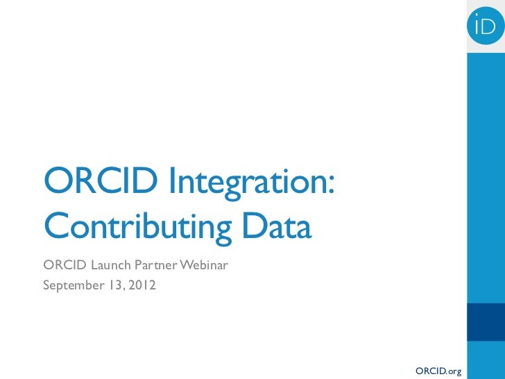ORCID Integration: Contributing Data
