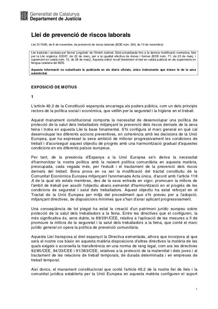 Llei de prevenció de riscos laboralsLlei 31/1995, de 8 de novembre, de prevenció de riscos laborals (BOE núm. 269, de 10 d...