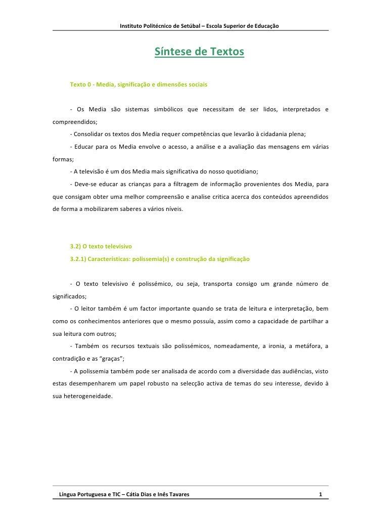Instituto Politécnico de Setúbal – Escola Superior de Educação                                           Síntese de Textos...