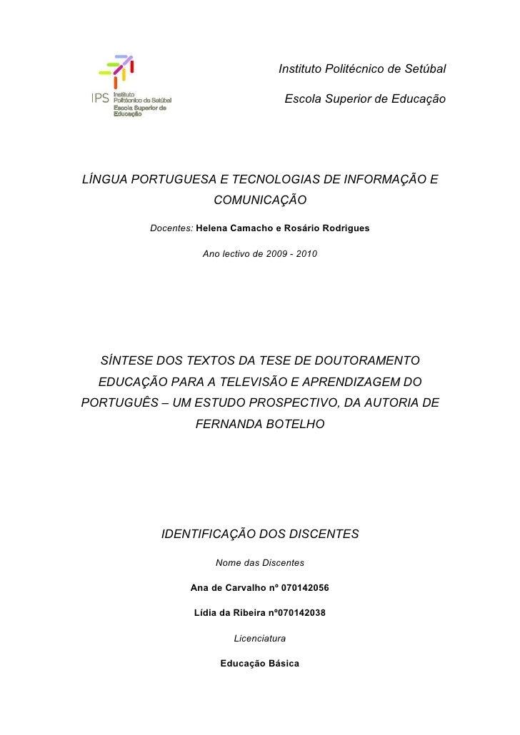 Instituto Politécnico de Setúbal                                       Escola Superior de Educação     LÍNGUA PORTUGUESA E...