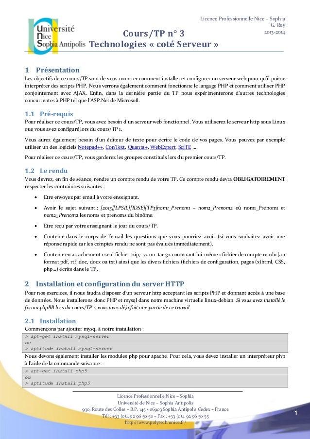 Licence Professionnelle Nice – Sophia G. Rey 2013-2014 Licence Professionnelle Nice – Sophia Université de Nice – Sophia A...