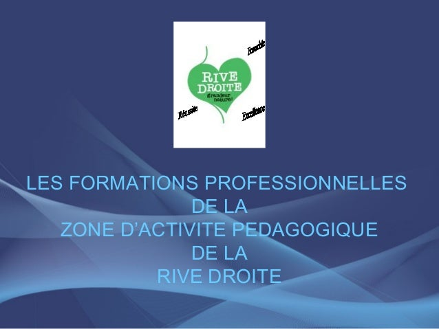 LES FORMATIONS PROFESSIONNELLES               DE LA   ZONE D'ACTIVITE PEDAGOGIQUE               DE LA           RIVE DROITE