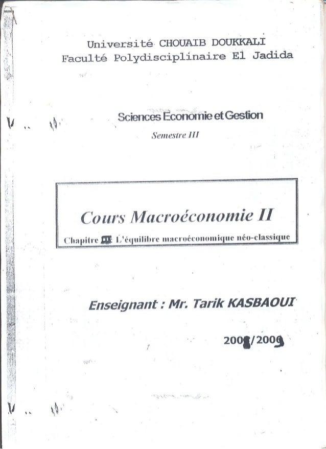L'équilibre macro économique (néo-classique)