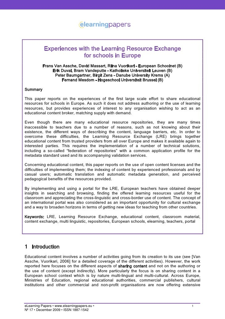 Experiences with the Learning Resource Exchange                          for schools in Europe            Frans Van Assche...