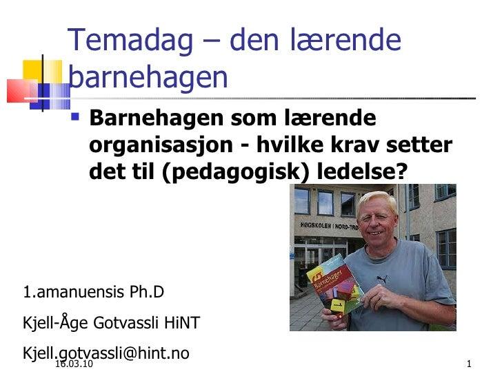 Lærende barnehage Kjell Åge Gotvassli