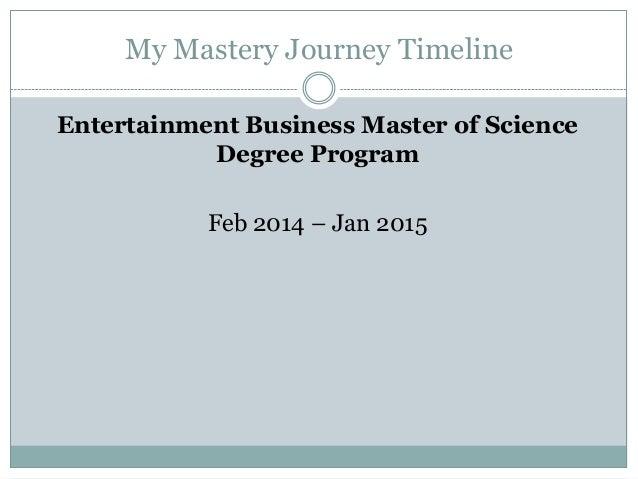 My Mastery Journey Timeline Entertainment Business Master of Science Degree Program Feb 2014 – Jan 2015