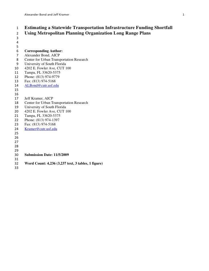 Estimating a Statewide Transportation Funding Shortfall Using MPO Long Range Plans