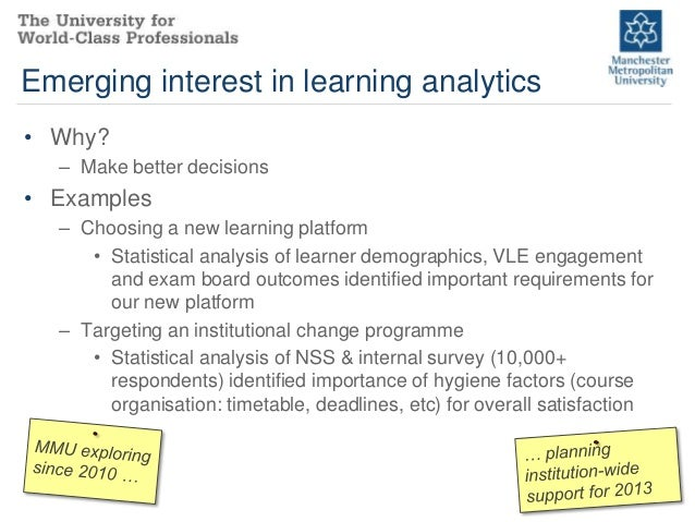 Emerging interest in learning analytics• Why?  – Make better decisions• Examples  – Choosing a new learning platform     •...