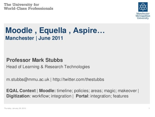 Thursday, January 29, 2015 1 Moodle , Equella , Aspire… Manchester | June 2011 Professor Mark Stubbs Head of Learning & Re...