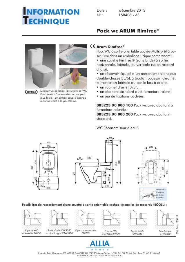 fiche technique pack wc arum rimfree par allia salle de bains