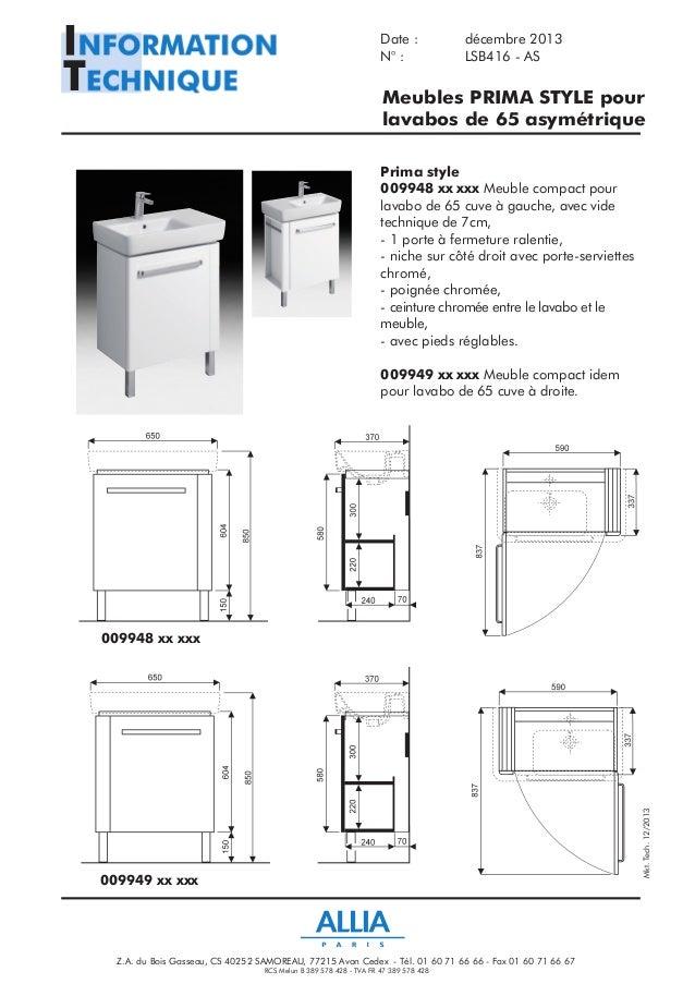 Meuble Lavabo Sur Colonne Of Fiche Technique Lavabos De 65 Cm Asym Trique Prima Style