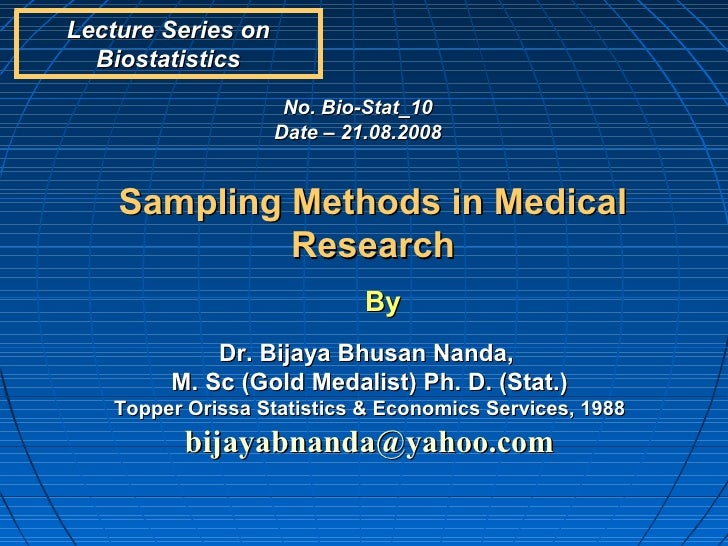 Sampling methods in medical research