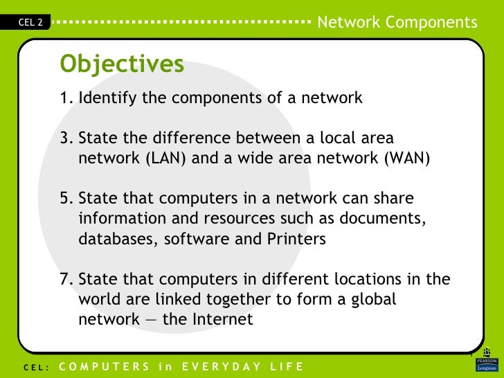 Objectives <ul><li>Identify the components of a network </li></ul><ul><li>State the difference between a local area networ...