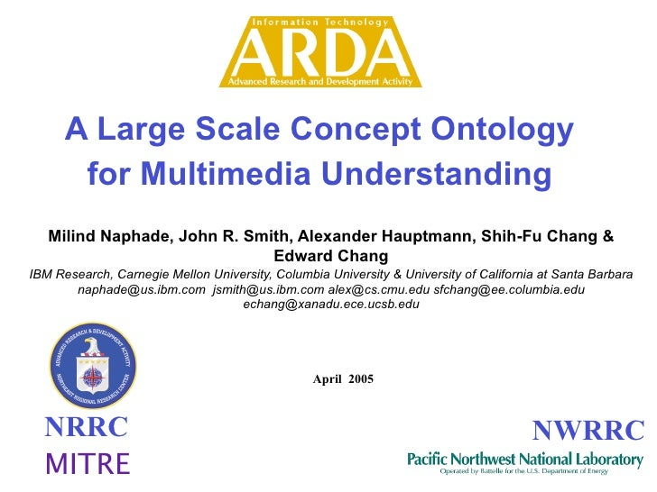 A Large Scale Concept Ontology        for Multimedia Understanding    Milind Naphade, John R. Smith, Alexander Hauptmann, ...