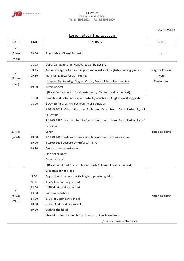 JTB Pte Ltd 79 Anson Road #07-04 Tel: 65-6595-9922 Fax: 65-6595-9900 29/JULY/2013 Lesson Study Trip to Japan DATE TIME ITI...