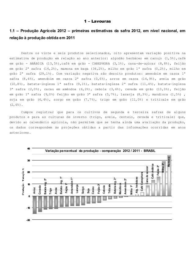 1 – Lavouras 1.1 – Produção Agrícola 2012 – primeiras estimativas da safra 2012, em nível nacional, em relação à produção ...