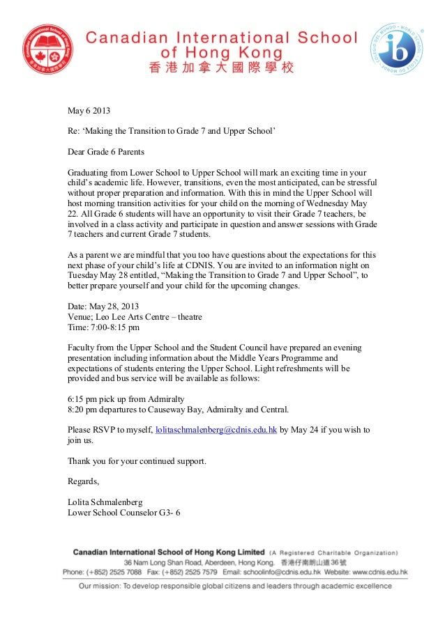 May 6 2013Re: 'Making the Transition to Grade 7 and Upper School'Dear Grade 6 ParentsGraduating from Lower School to Upper...
