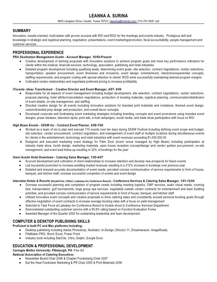 catering manager resume example pdf