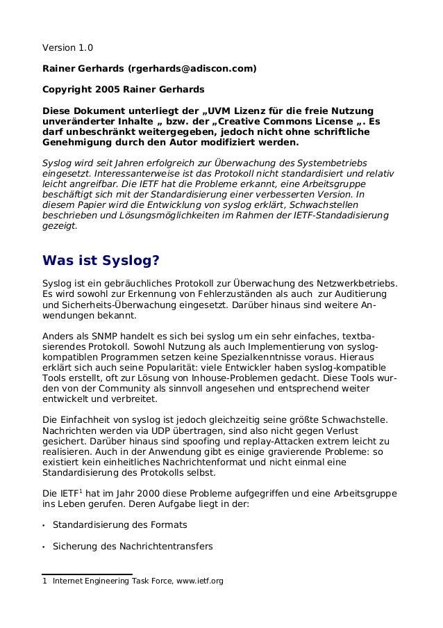 """Version 1.0Rainer Gerhards (rgerhards@adiscon.com)Copyright 2005 Rainer GerhardsDiese Dokument unterliegt der """"UVM Lizenz ..."""