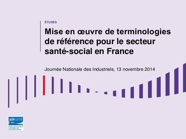 ÉTUDES Mise en œuvre de terminologies de référence pour le secteur santé-social en France Journée Nationale des Industriel...