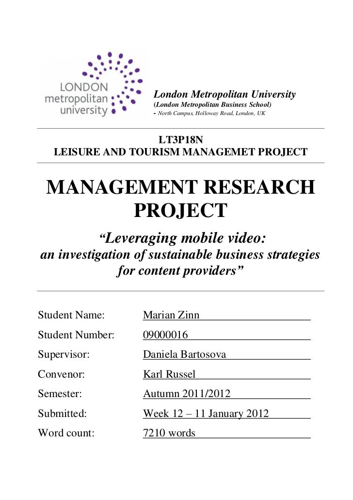 Leveraging Mobile Video - Management Research Report - Marian Zinn