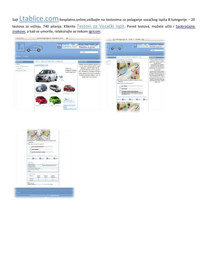 Sajt   Ltablice.com-besplatno,online,vežbajte na testovima za polaganje vozačkog ispita B kategorije – 20testova za vožnju...