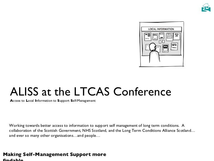 ALISS at the LTCAS Conference A ccess to  L ocal  I nformation to  S upport  S elf-Management Working towards better acces...