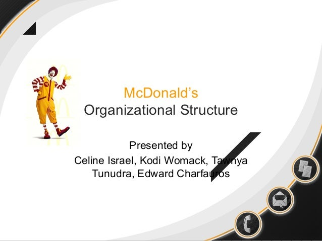 McDonald's Organizational Structure Presented by Celine Israel, Kodi Womack, Tawnya Tunudra, Edward Charfauros