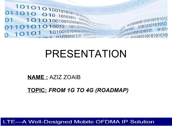 PRESENTATION NAME :  AZIZ ZOAIB TOPIC:   FROM 1G TO 4G (ROADMAP)