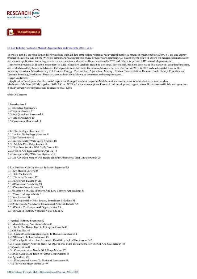 LTE in Industry Verticals Market Forecast 2014-2019