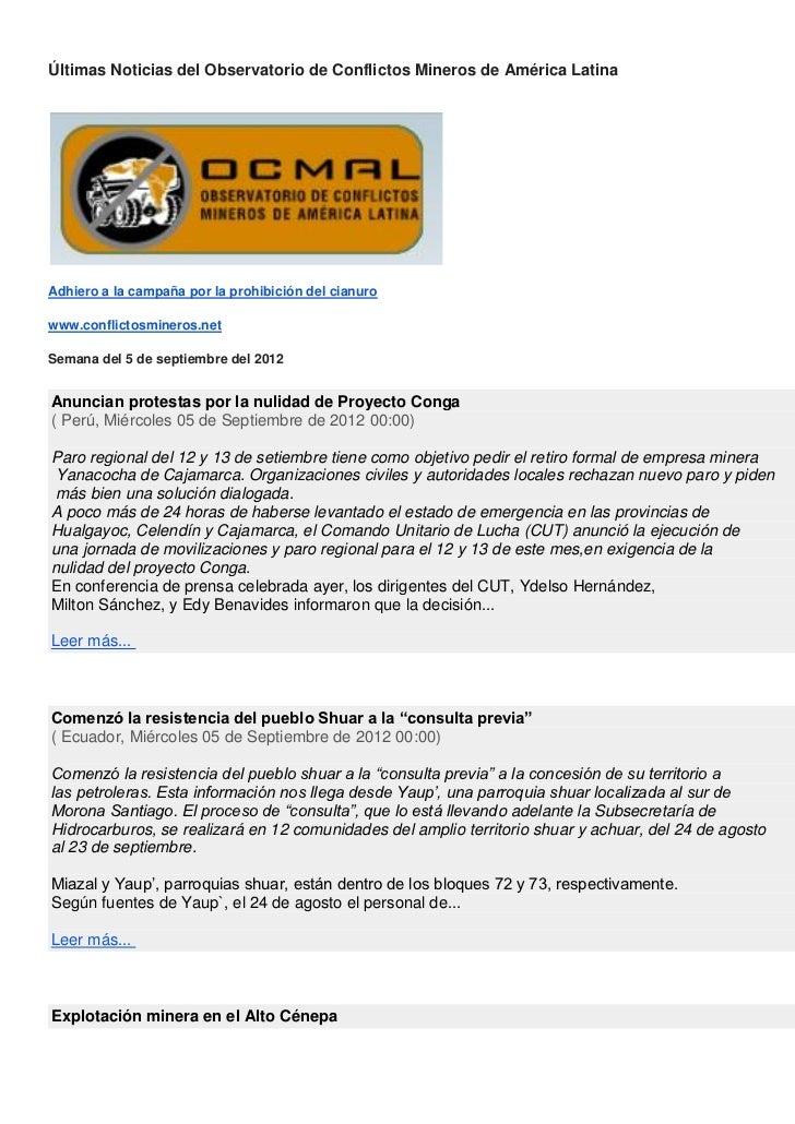 Últimas Noticias del Observatorio de Conflictos Mineros de América LatinaAdhiero a la campaña por la prohibición del cianu...